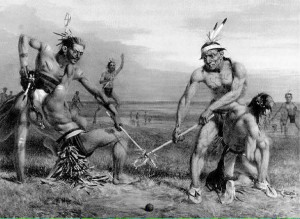 Artistic rendering of a lacrosse game taking place hundreds of years before Columbus touched the shores of North America.